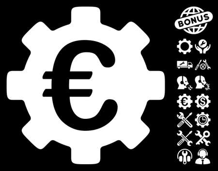 configure: Euro Development Gear pictograph with bonus settings images. Vector illustration style is flat iconic symbols on white background.