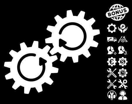 configuration: Gear Mechanism Rotation pictograph with bonus options design elements. Vector illustration style is flat iconic symbols on white background.