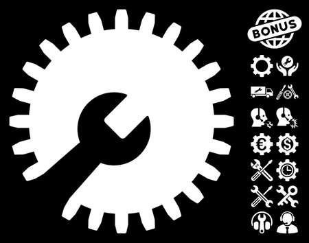 configuration: Gear Tools pictograph with bonus configuration symbols. Vector illustration style is flat iconic symbols on white background. Illustration