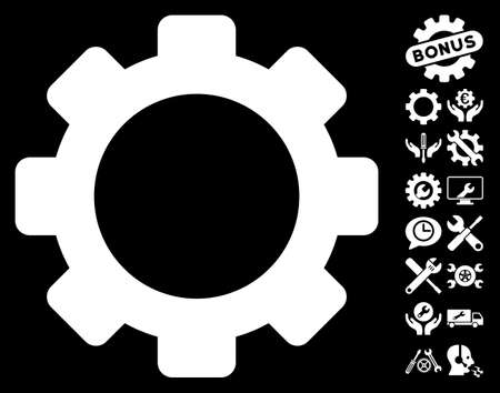 configuration: Gear pictograph with bonus configuration pictograms. Vector illustration style is flat iconic symbols on white background. Illustration