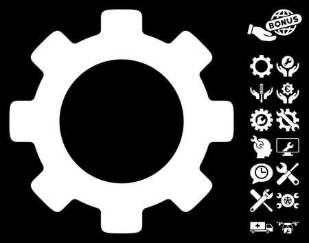 configuration: Gear icon with bonus tools design elements. Vector illustration style is flat iconic symbols on white background.