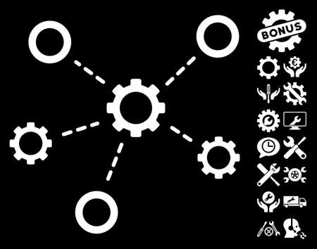 config: Gears Relations icon with bonus setup tools images. Vector illustration style is flat iconic white symbols on black background.