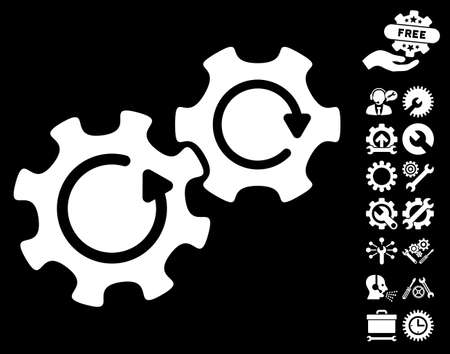 Gears Rotation icon with bonus options graphic icons. Vector illustration style is flat iconic symbols on white background.