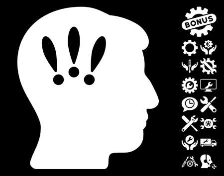 Head Problems pictograph with bonus service pictograms. Vector illustration style is flat iconic symbols on white background.