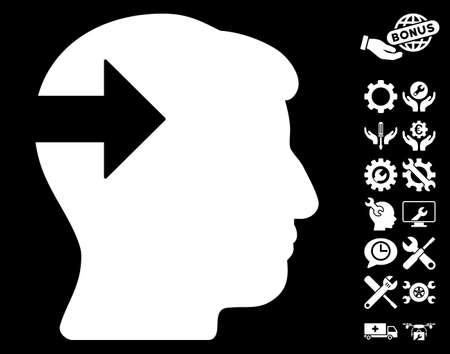 plugin: Head Plug-In Arrow pictograph with bonus setup tools images. Vector illustration style is flat iconic symbols on white background. Illustration