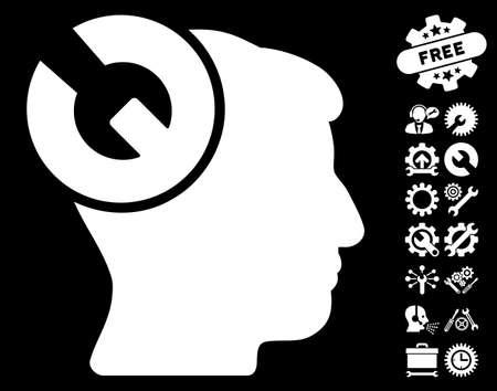 configuration: Head Surgery Wrench icon with bonus settings graphic icons. Vector illustration style is flat iconic symbols on white background. Illustration