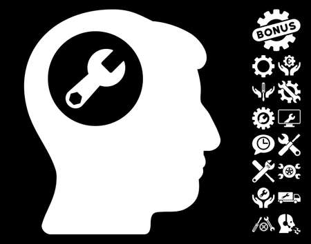configuration: Head Wrench icon with bonus configuration pictograph collection. Vector illustration style is flat iconic symbols on white background.
