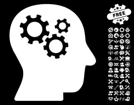 configuration: Intellect Gears icon with bonus setup tools images. Vector illustration style is flat iconic symbols on white background.