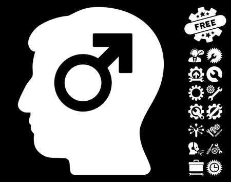 erection: Mind Potency pictograph with bonus setup tools icon set. Vector illustration style is flat iconic symbols on white background.