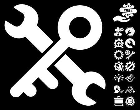 configuration: Key Tools pictograph with bonus settings design elements. Vector illustration style is flat iconic symbols on white background. Illustration