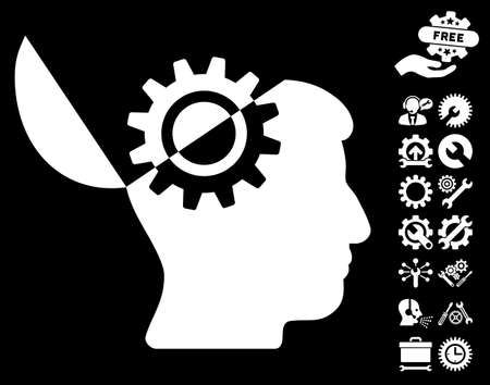 open mind: Open Mind Gear pictograph with bonus options pictures. Vector illustration style is flat iconic symbols on white background. Illustration