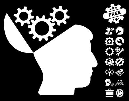 open mind: Open Mind Gears icon with bonus tools clip art. Vector illustration style is flat iconic symbols on white background.