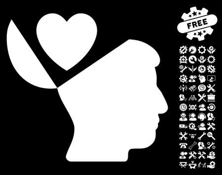 configure: Open Mind Love Heart pictograph with bonus service pictograms. Vector illustration style is flat iconic symbols on white background.