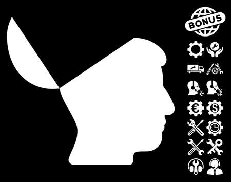 open mind: Open Mind pictograph with bonus service images. Vector illustration style is flat iconic symbols on white background.
