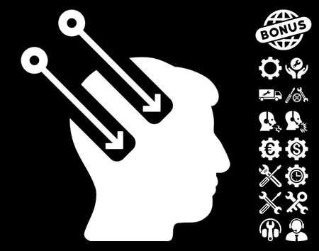 plugin: Neural Interface icon with bonus tools symbols. Vector illustration style is flat iconic symbols on white background. Illustration