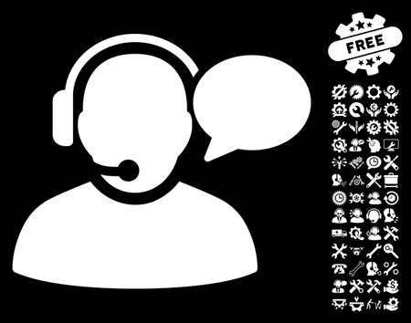 configuration: Operator Message pictograph with bonus configuration pictograms. Vector illustration style is flat iconic white symbols on black background.