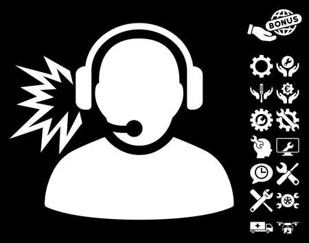 configure: Operator Message pictograph with bonus configuration pictograms. Vector illustration style is flat iconic white symbols on black background.