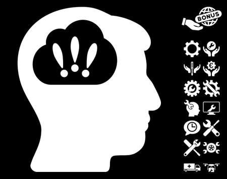 humanity: Problem Brainstorm icon with bonus options clip art. Vector illustration style is flat iconic symbols on white background.