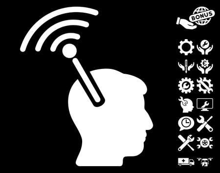 cerebra: Radio Neural Interface icon with bonus settings clip art. Vector illustration style is flat iconic symbols on white background.