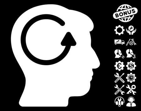 Refresh Head Memory icon with bonus configuration images. Vector illustration style is flat iconic symbols on white background.
