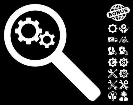 configure: Search Gears Tool pictograph with bonus settings symbols. Vector illustration style is flat iconic symbols on white background.