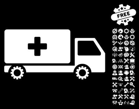 Service Car Icon With Bonus Setup Tools Pictograms Vector
