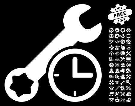 schedule system: Service Time icon with bonus tools pictograms. Vector illustration style is flat iconic symbols on white background.