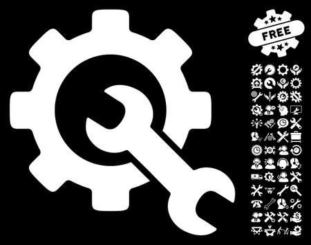 configuration: Service Tools icon with bonus configuration graphic icons. Vector illustration style is flat iconic symbols on white background.