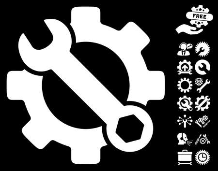 config: Service Tools icon with bonus options icon set. Vector illustration style is flat iconic symbols on white background. Illustration