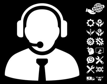 Support Manager icon with bonus setup tools symbols. Vector illustration style is flat iconic symbols on white background.