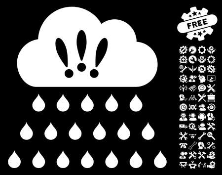Thunderstorm Rain Cloud pictograph with bonus configuration symbols. Vector illustration style is flat iconic symbols on white background.