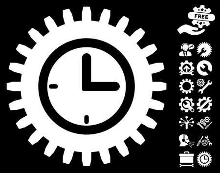 configure: Time Options icon with bonus configuration graphic icons. Vector illustration style is flat iconic symbols on white background.