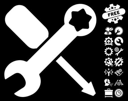 Tools pictograph with bonus configuration design elements. Vector illustration style is flat iconic symbols on white background. Illustration