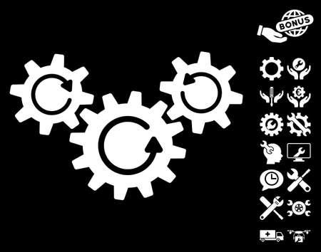 Ruote di trasmissione Pittogramma di rotazione con set di icone di servizio bonus. Lo stile dell'illustrazione di vettore è simboli iconici piani su fondo bianco.