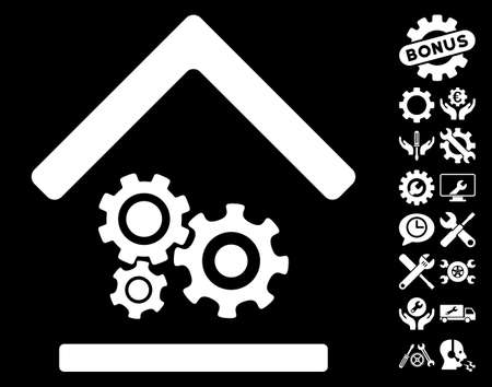 configuration: Workshop pictograph with bonus configuration images. Vector illustration style is flat iconic symbols on white background. Illustration
