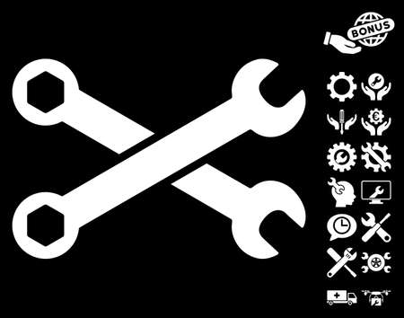 config: Wrenches icon with bonus settings pictograms. Vector illustration style is flat iconic symbols on white background. Illustration