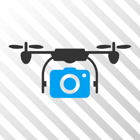 airflight: Camera Drone vector pictograph. Illustration style is flat iconic bicolor blue and gray symbol on a hatch transparent background. Illustration