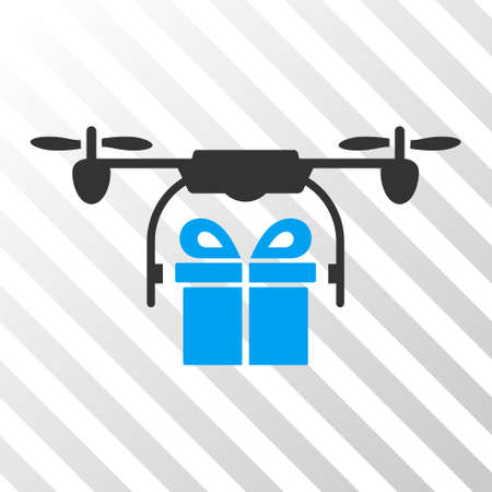 airflight: Drone Gift Delivery vector icon. Illustration style is flat iconic bicolor blue and gray symbol on a hatched transparent background. Illustration