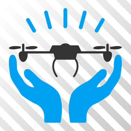 Drone Launch Hands vector pictogram. Illustration style is flat iconic bicolor blue and gray symbol on a hatched transparent background.