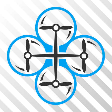 Drone Screws vector pictograph. Illustration style is flat iconic bicolor blue and gray symbol on a hatched transparent background.