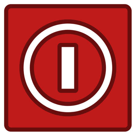 log off: Turn Off Switch interface icon. Vector pictogram style is a flat symbol with contour edges.