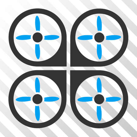 airflight: Copter vector pictogram. Illustration style is flat iconic bicolor blue and gray symbol on a hatched transparent background. Illustration