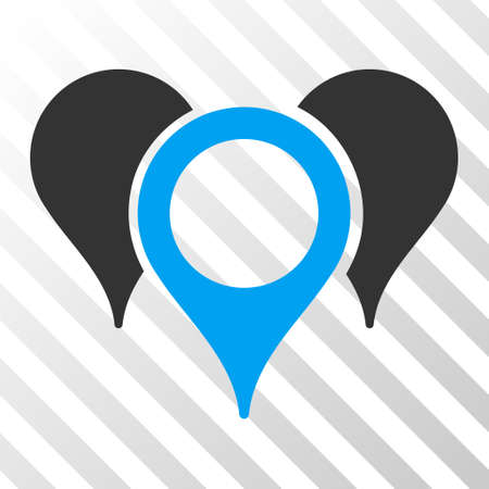 hint: Map Pointers vector pictogram. Illustration style is flat iconic bicolor blue and gray symbol on a hatched transparent background.
