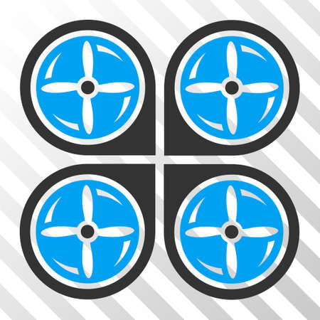 airflight: Nanocopter Screws Rotaion vector pictogram. Illustration style is flat iconic bicolor blue and gray symbol on a hatched transparent background.