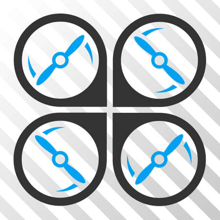 airflight: Quadcopter Screws Rotation vector pictogram. Illustration style is flat iconic bicolor blue and gray symbol on a hatched transparent background. Illustration