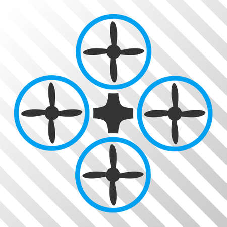 airflight: Quadcopter vector pictogram. Illustration style is flat iconic bicolor blue and gray symbol on a hatched transparent background.