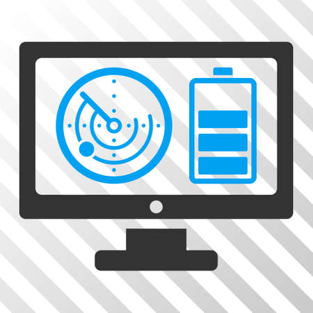 Radar Battery Control Monitor vector pictograph. Illustration style is flat iconic bicolor blue and gray symbol on a hatch transparent background.