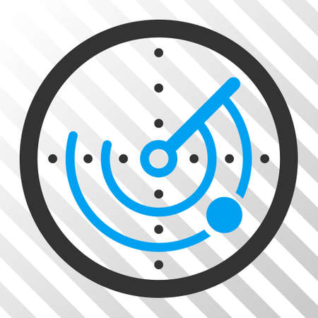 localization: Radar vector pictograph. Illustration style is flat iconic bicolor blue and gray symbol on a hatched transparent background. Illustration