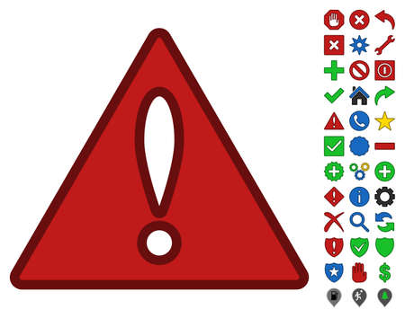 Error toolbar icon with bright toolbar icon set. Glyph pictogram style is flat symbols with contour edges.
