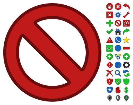 Forbidden interface icon with bright toolbar icon set. Glyph pictogram style is flat symbols with contour edges. Stock Photo